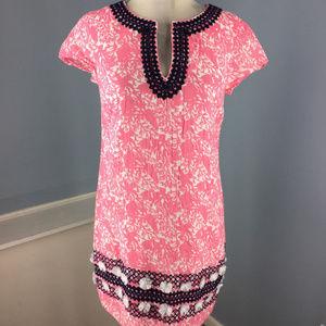 Vineyard Vines XS 2 Pink Shift dress Embroidered